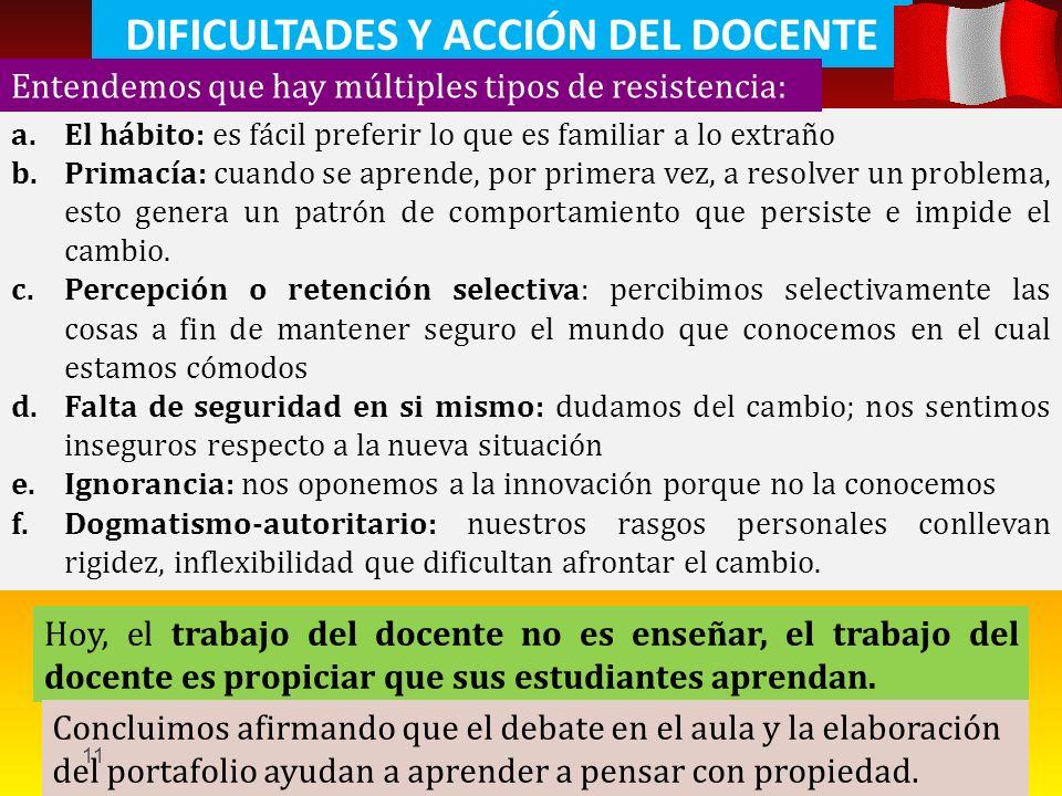 DIFICULTADES Y ACCIÓN DEL DOCENTE