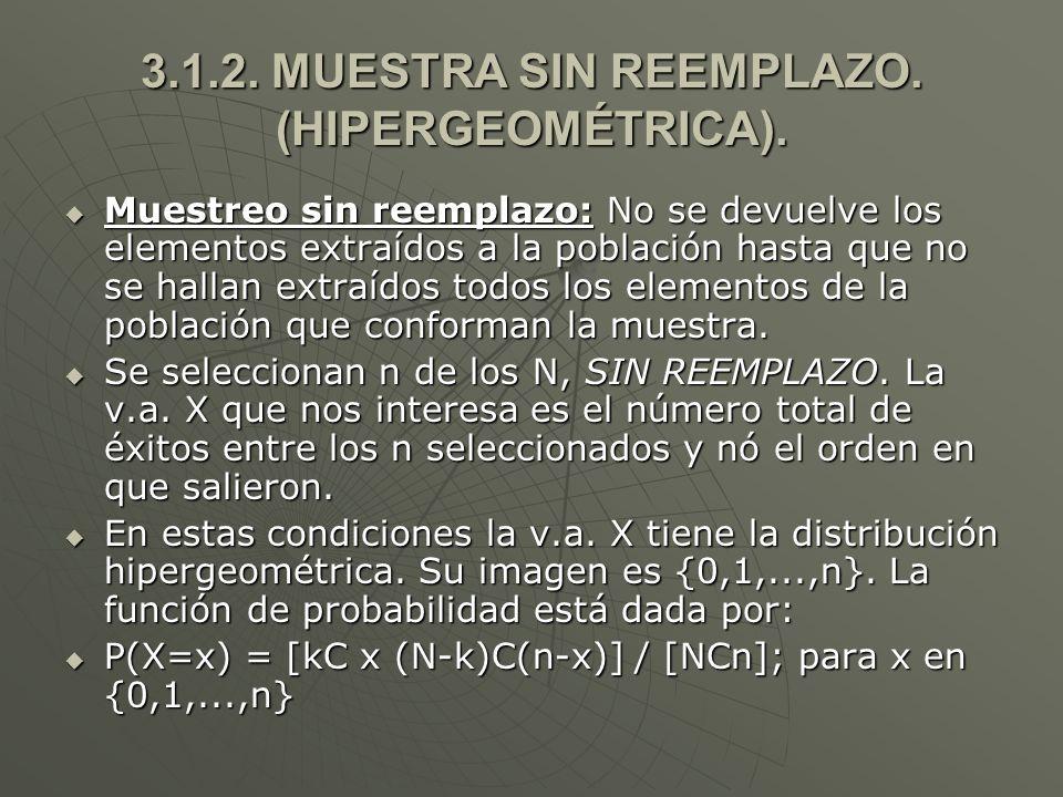 3.1.2. MUESTRA SIN REEMPLAZO. (HIPERGEOMÉTRICA).