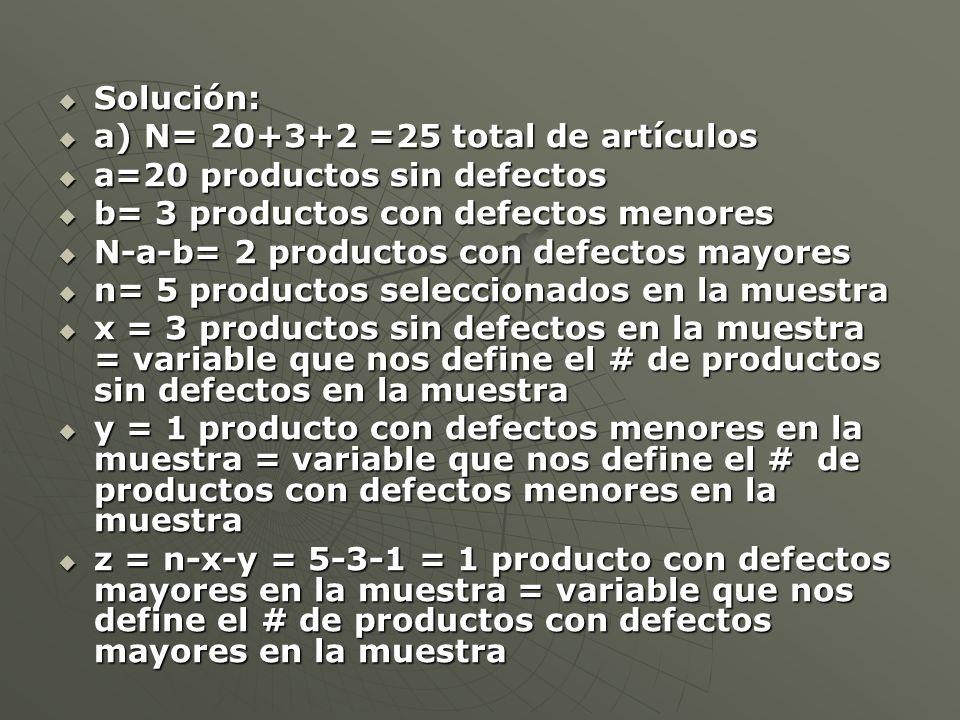 Solución: a) N= 20+3+2 =25 total de artículos. a=20 productos sin defectos. b= 3 productos con defectos menores.