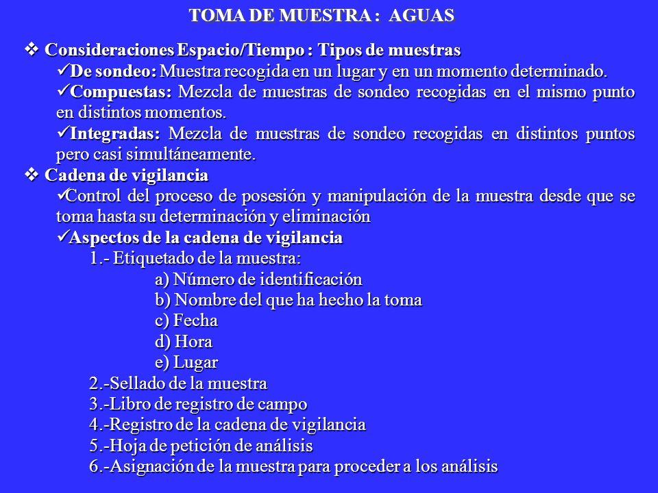 TOMA DE MUESTRA : AGUAS Consideraciones Espacio/Tiempo : Tipos de muestras. De sondeo: Muestra recogida en un lugar y en un momento determinado.