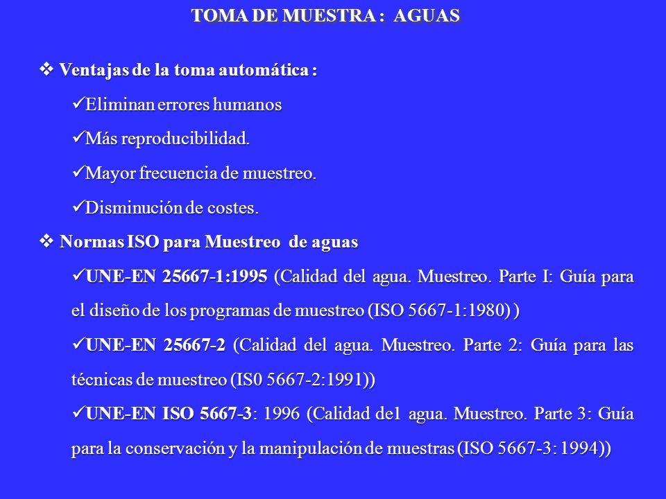 TOMA DE MUESTRA : AGUASVentajas de la toma automática : Eliminan errores humanos. Más reproducibilidad.