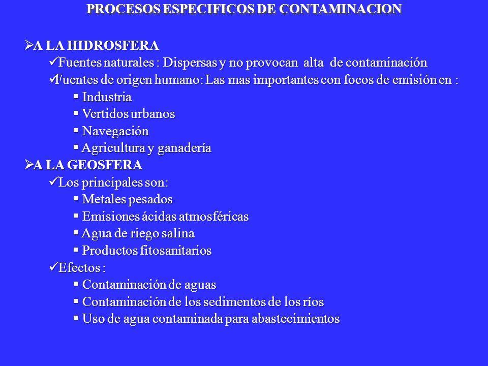 PROCESOS ESPECIFICOS DE CONTAMINACION