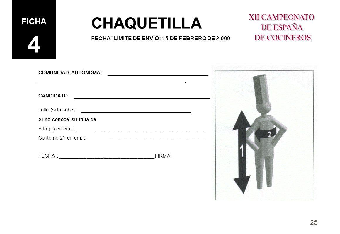 CHAQUETILLA FICHA 4 XII CAMPEONATO DE ESPAÑA DE COCINEROS . .