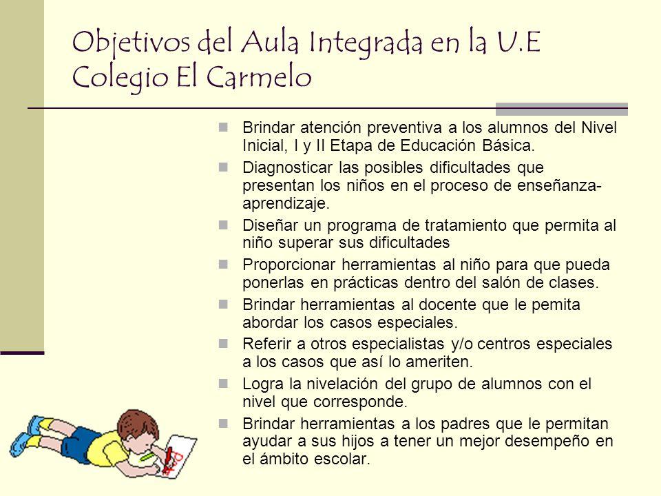 Objetivos del Aula Integrada en la U.E Colegio El Carmelo
