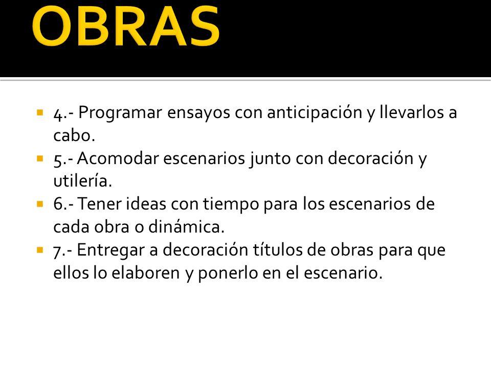 OBRAS 4.- Programar ensayos con anticipación y llevarlos a cabo.
