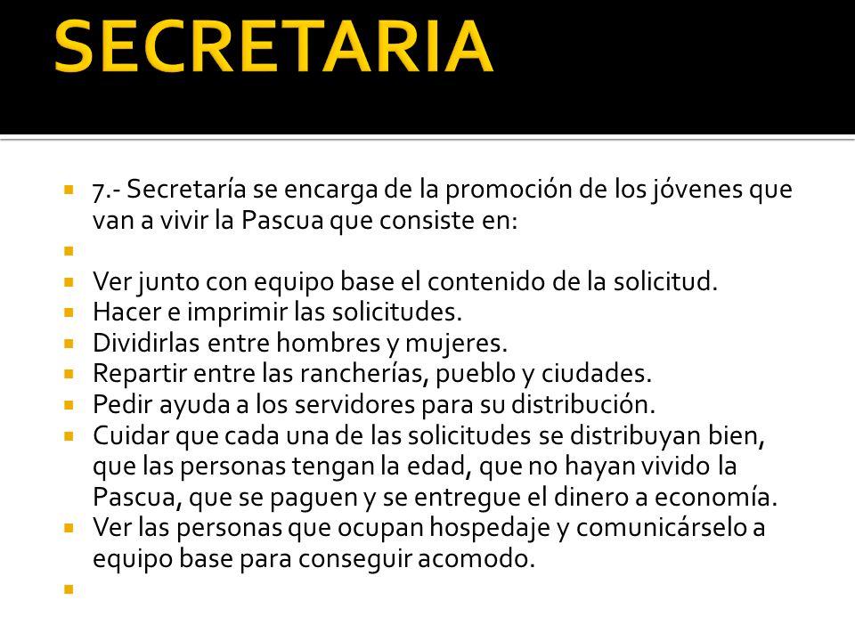 SECRETARIA 7.- Secretaría se encarga de la promoción de los jóvenes que van a vivir la Pascua que consiste en: