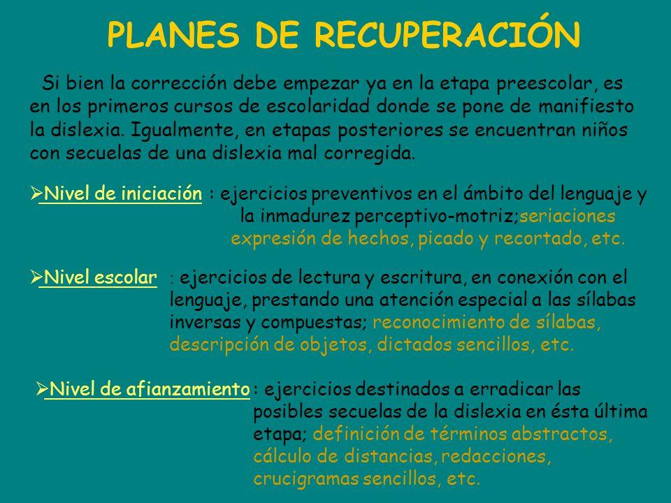 PLANES DE RECUPERACIÓN