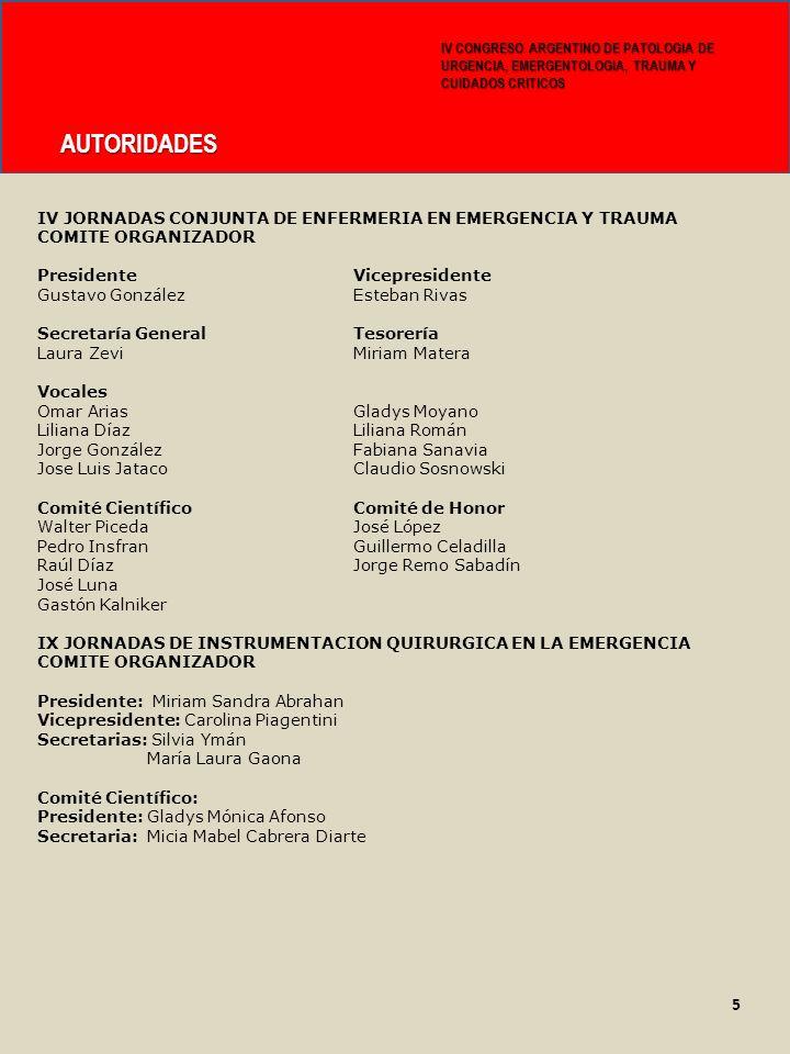 IV CONGRESO ARGENTINO DE PATOLOGIA DE URGENCIA, EMERGENTOLOGIA, TRAUMA Y CUIDADOS CRITICOS