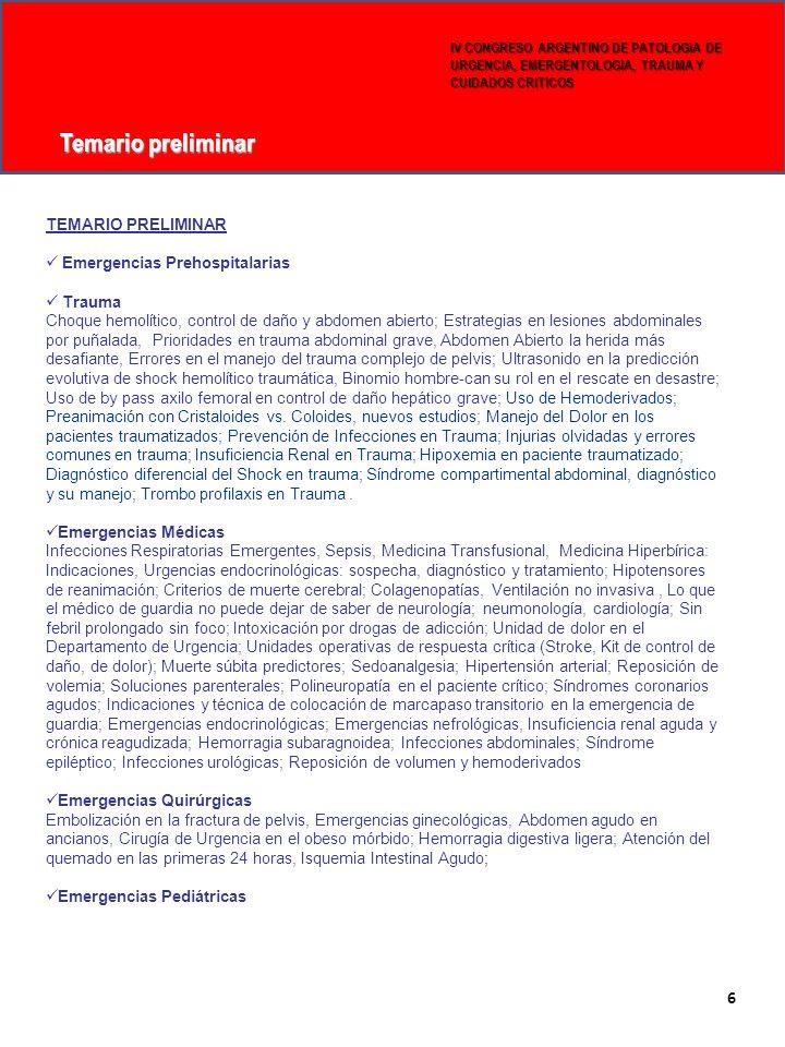 Temario preliminar 5 6 TEMARIO PRELIMINAR Emergencias Prehospitalarias