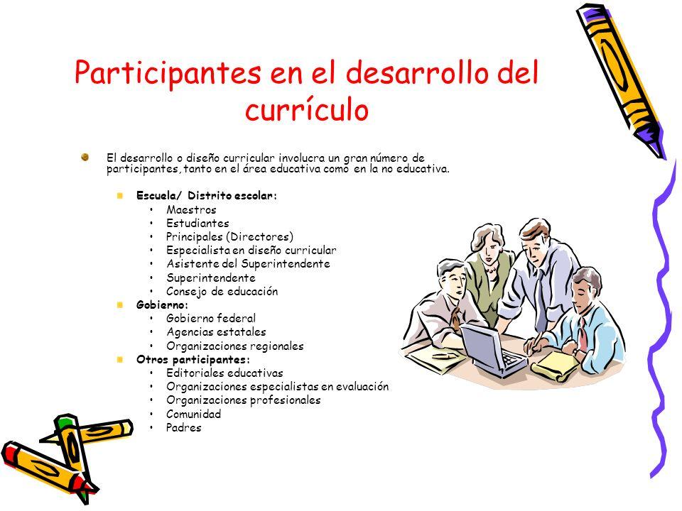 Participantes en el desarrollo del currículo