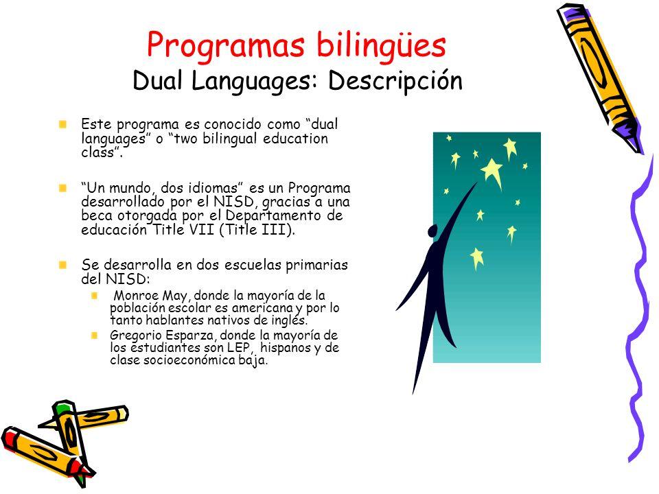 Programas bilingües Dual Languages: Descripción