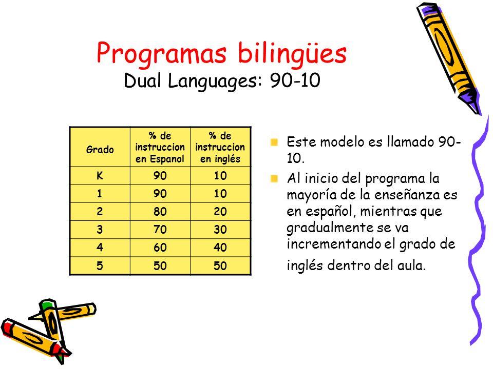 Programas bilingües Dual Languages: 90-10
