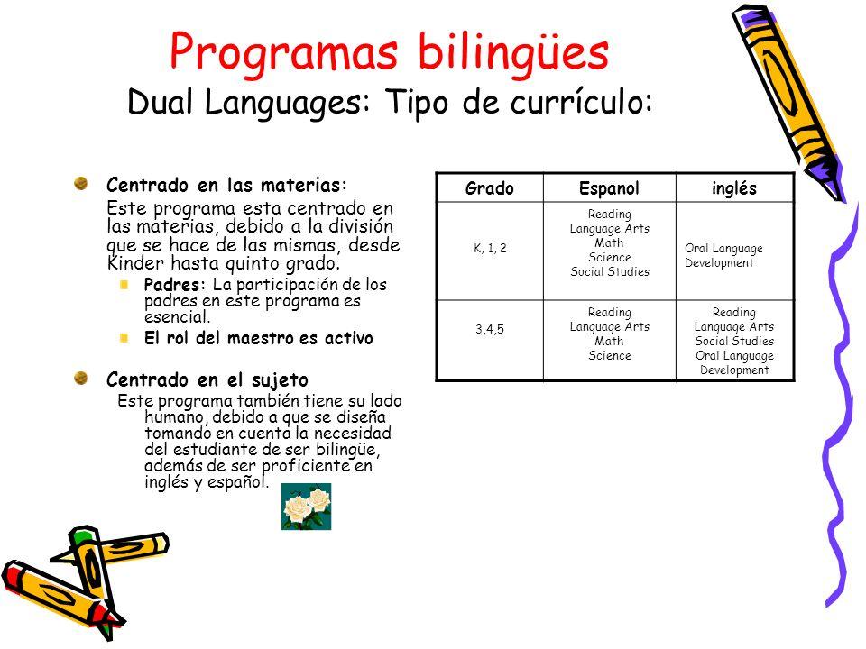 Programas bilingües Dual Languages: Tipo de currículo: