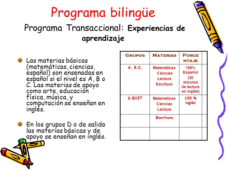 Programa bilingüe Programa Transaccional: Experiencias de aprendizaje