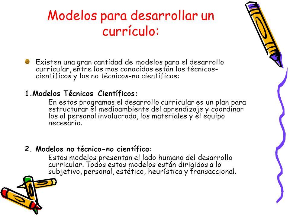 Modelos para desarrollar un currículo: