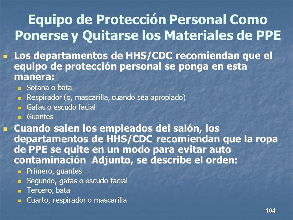 Equipo de Protección Personal Como Ponerse y Quitarse los Materiales de PPE