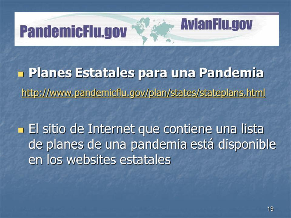 PandemicFlu.gov Planes Estatales para una Pandemia
