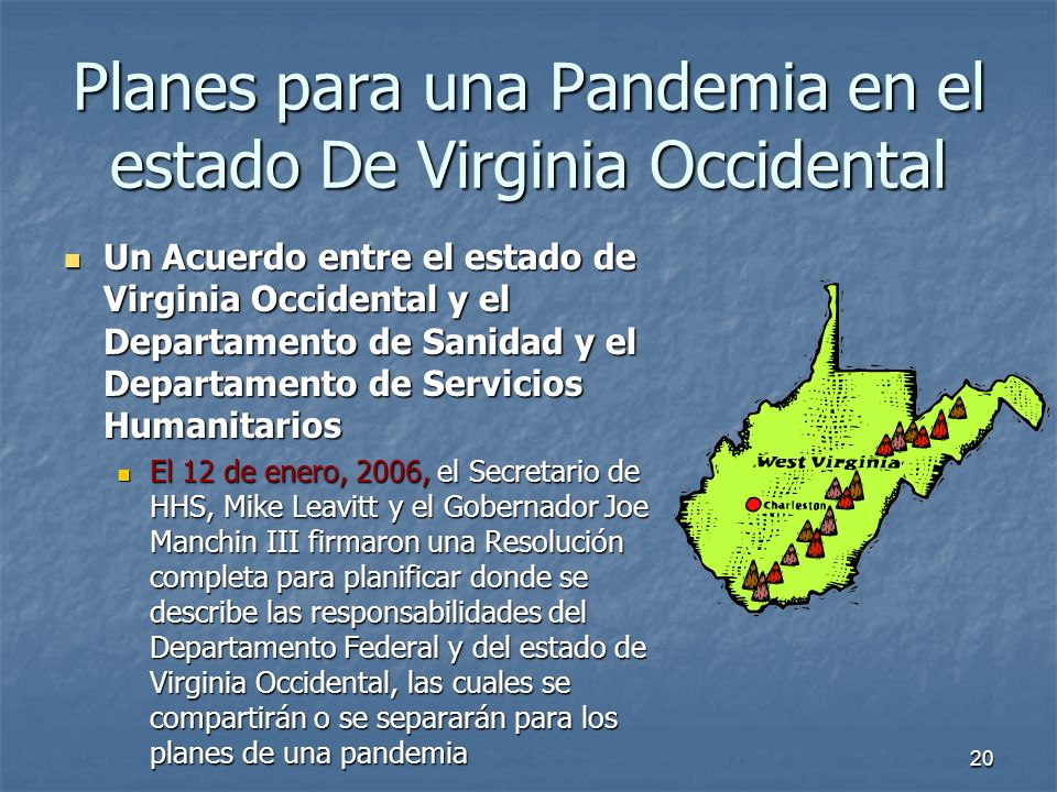 Planes para una Pandemia en el estado De Virginia Occidental