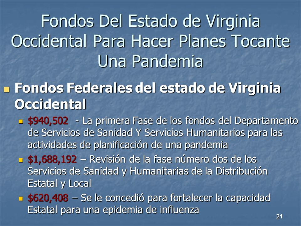 Fondos Del Estado de Virginia Occidental Para Hacer Planes Tocante Una Pandemia