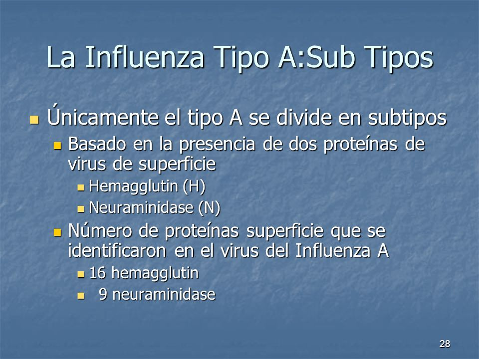La Influenza Tipo A:Sub Tipos
