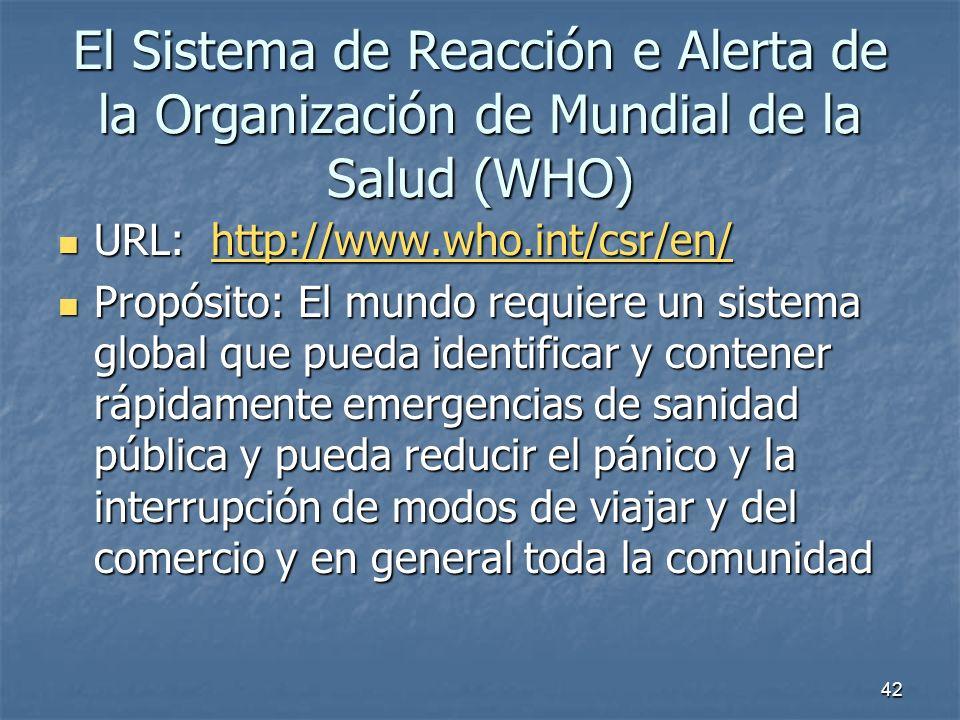 El Sistema de Reacción e Alerta de la Organización de Mundial de la Salud (WHO)