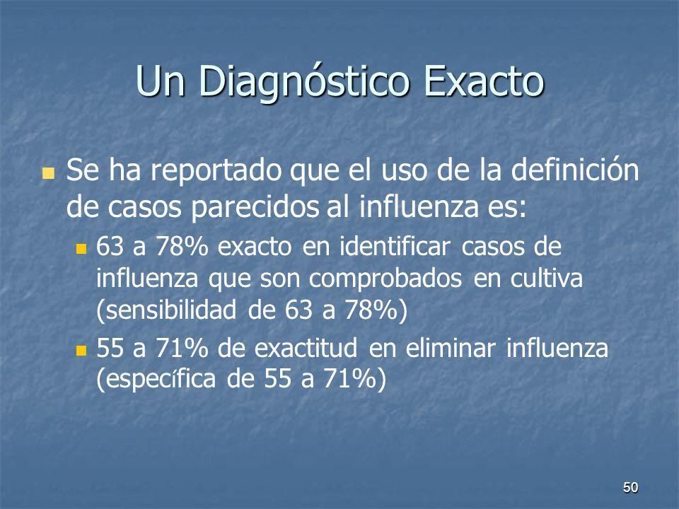 Un Diagnóstico Exacto Se ha reportado que el uso de la definición de casos parecidos al influenza es: