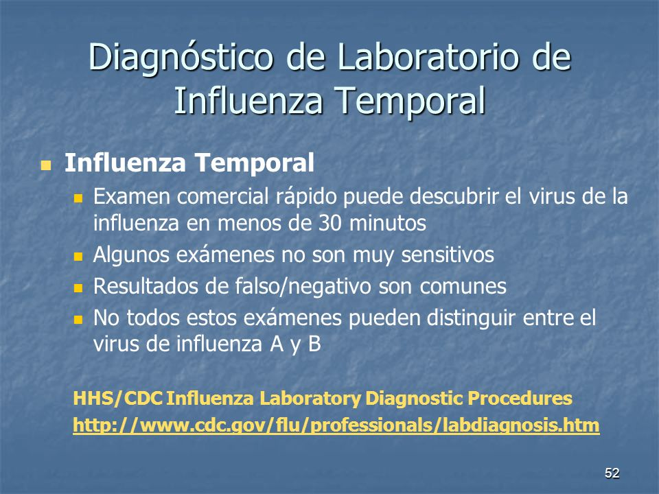 Diagnóstico de Laboratorio de Influenza Temporal