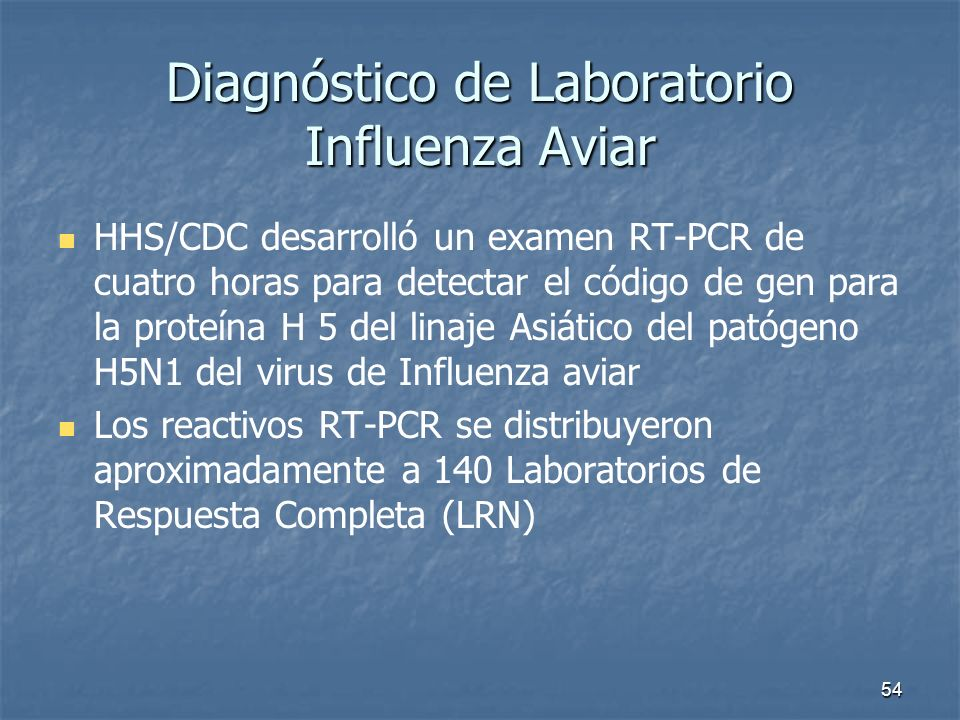 Diagnóstico de Laboratorio Influenza Aviar