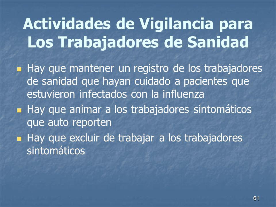 Actividades de Vigilancia para Los Trabajadores de Sanidad