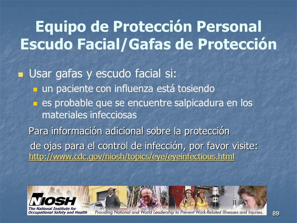 Equipo de Protección Personal Escudo Facial/Gafas de Protección
