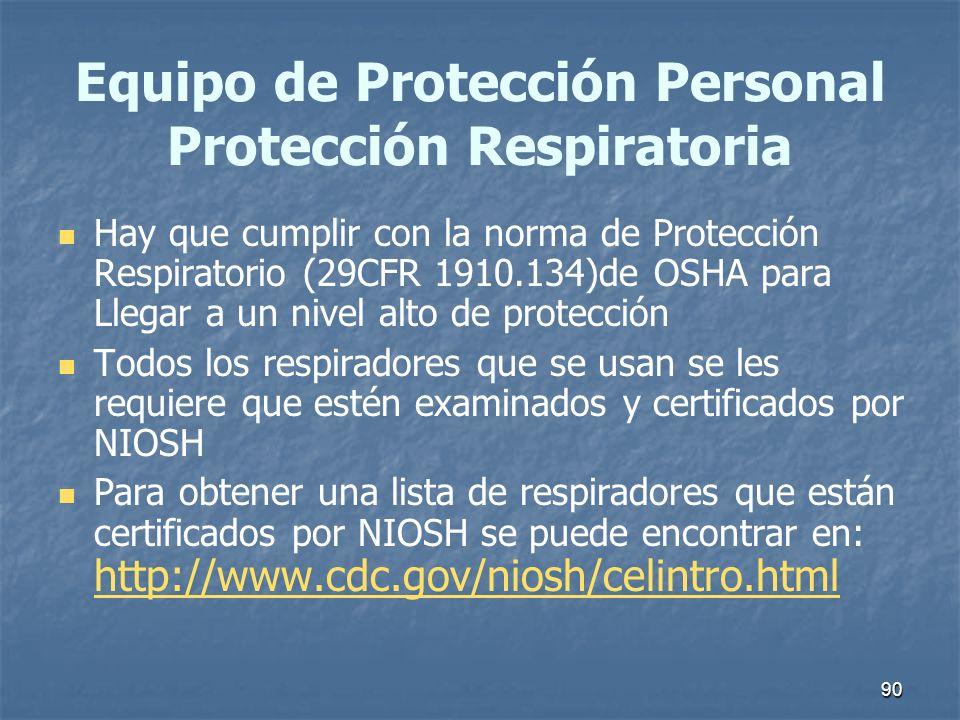 Equipo de Protección Personal Protección Respiratoria