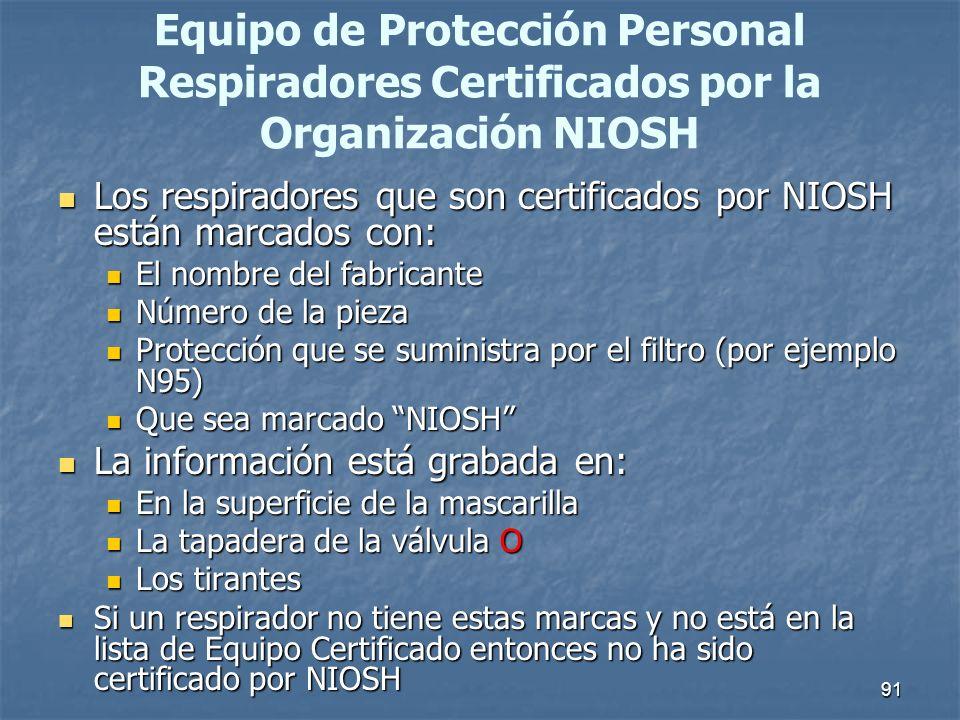 Equipo de Protección Personal Respiradores Certificados por la Organización NIOSH