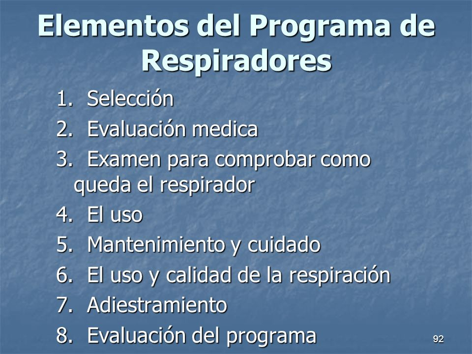 Elementos del Programa de Respiradores