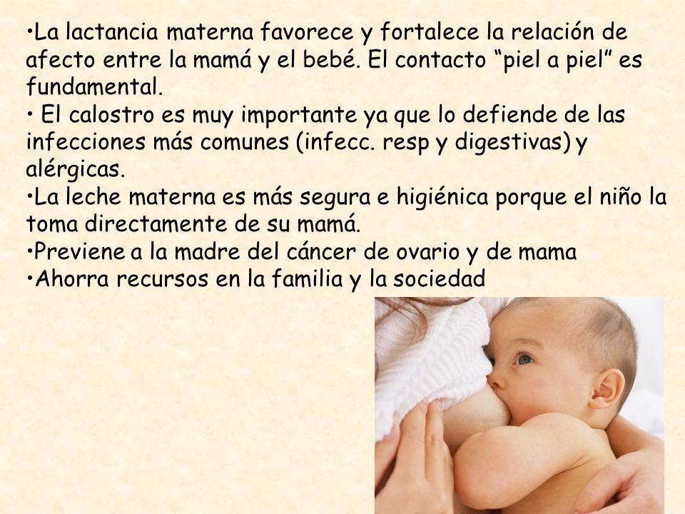 La lactancia materna favorece y fortalece la relación de afecto entre la mamá y el bebé. El contacto piel a piel es fundamental.