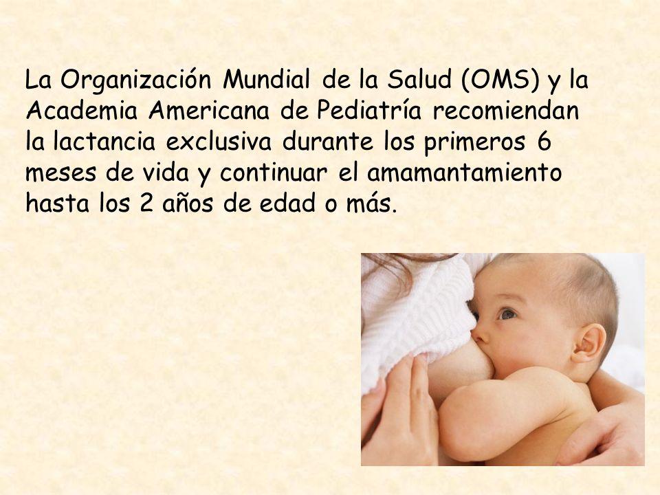 La Organización Mundial de la Salud (OMS) y la Academia Americana de Pediatría recomiendan la lactancia exclusiva durante los primeros 6 meses de vida y continuar el amamantamiento hasta los 2 años de edad o más.