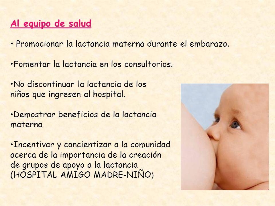 Al equipo de salud Promocionar la lactancia materna durante el embarazo. Fomentar la lactancia en los consultorios.