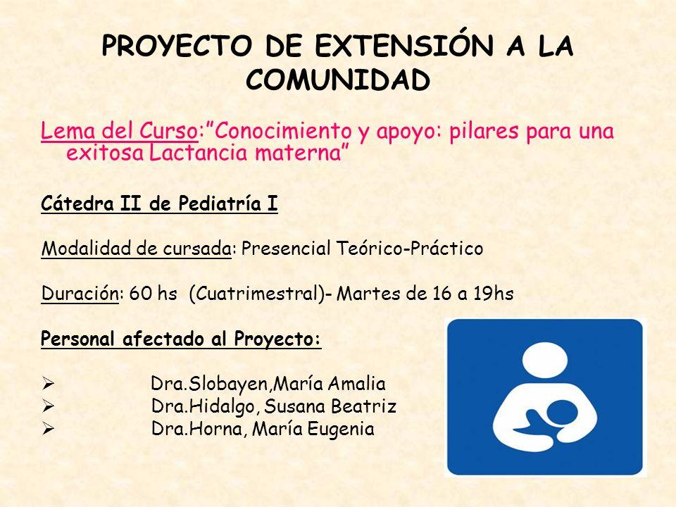 PROYECTO DE EXTENSIÓN A LA COMUNIDAD