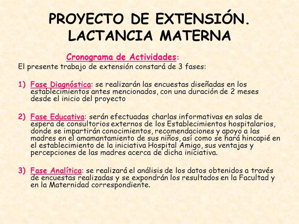 PROYECTO DE EXTENSIÓN. LACTANCIA MATERNA