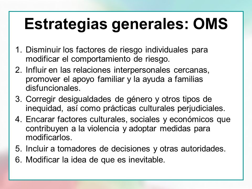 Estrategias generales: OMS