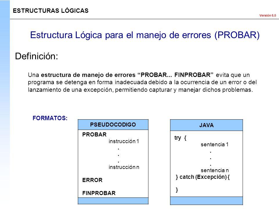 Estructura Lógica para el manejo de errores (PROBAR)