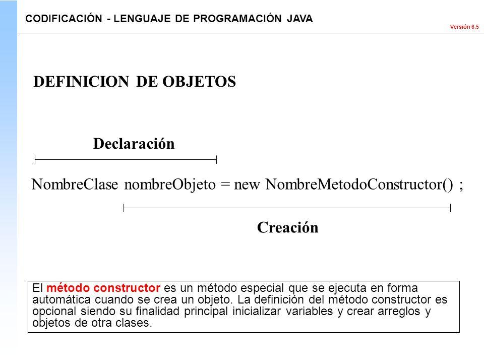 NombreClase nombreObjeto = new NombreMetodoConstructor() ;