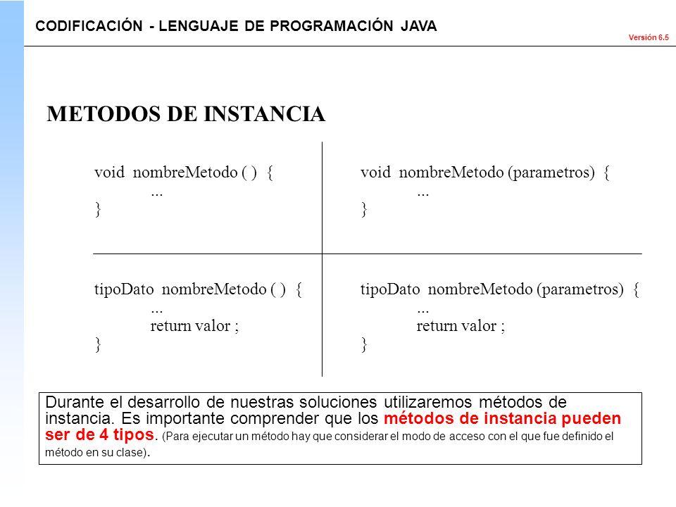 METODOS DE INSTANCIA void nombreMetodo ( ) { ... }