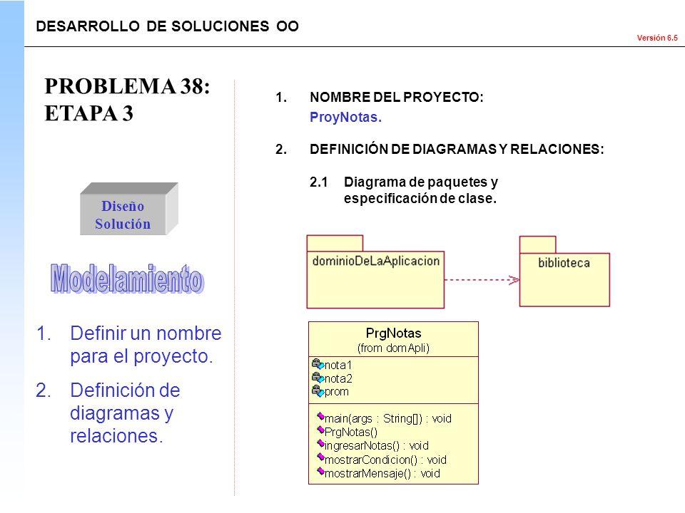 PROBLEMA 38: ETAPA 3 Modelamiento Definir un nombre para el proyecto.