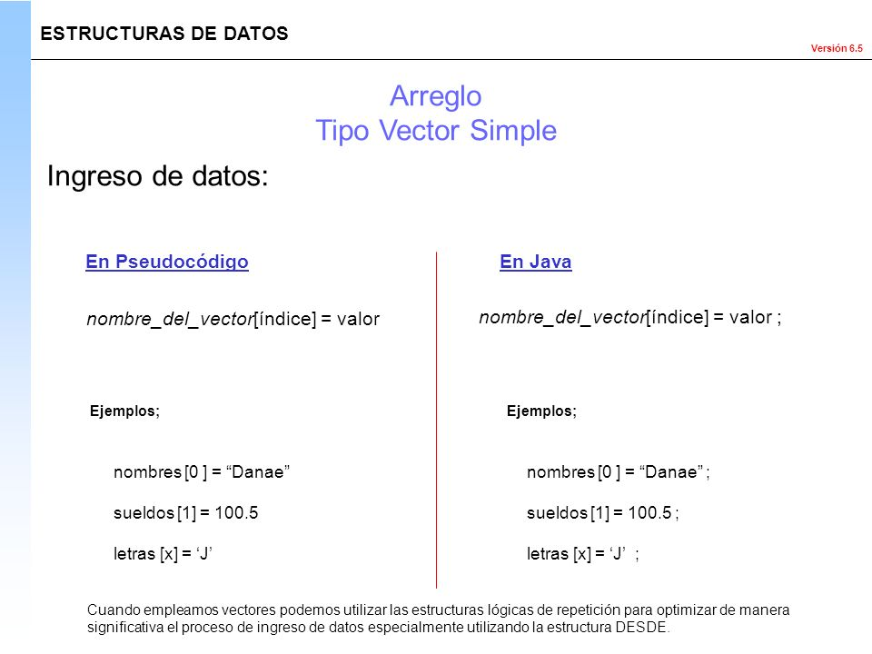Arreglo Tipo Vector Simple Ingreso de datos: ESTRUCTURAS DE DATOS