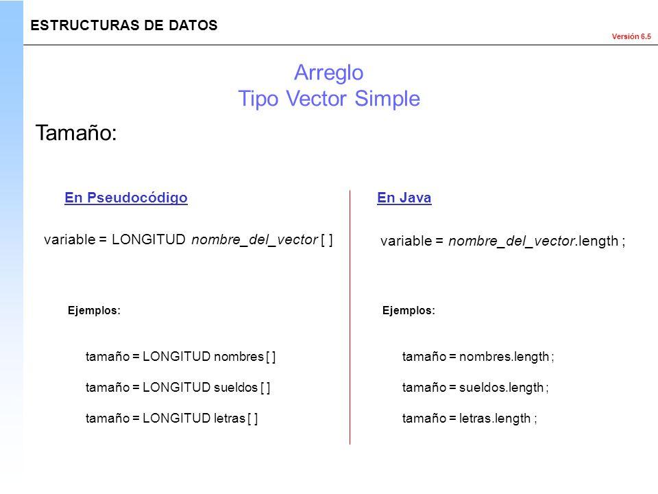 Arreglo Tipo Vector Simple Tamaño: ESTRUCTURAS DE DATOS