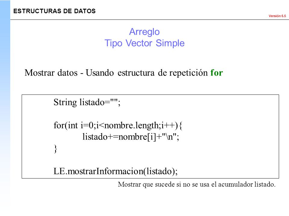 Mostrar datos - Usando estructura de repetición for