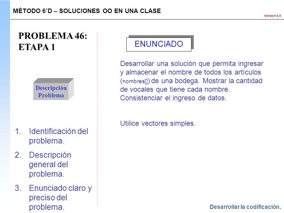 PROBLEMA 46: ETAPA 1 ENUNCIADO Identificación del problema.