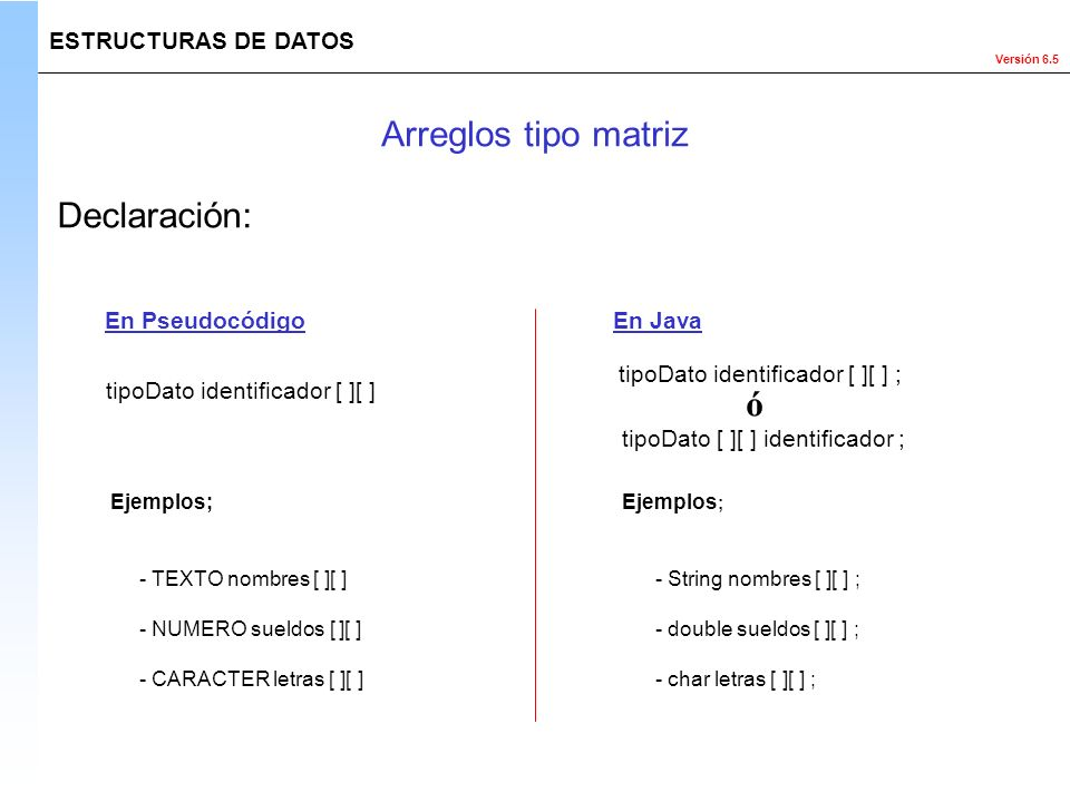 Arreglos tipo matriz Declaración: ó ESTRUCTURAS DE DATOS