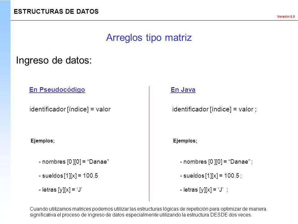 Arreglos tipo matriz Ingreso de datos: ESTRUCTURAS DE DATOS