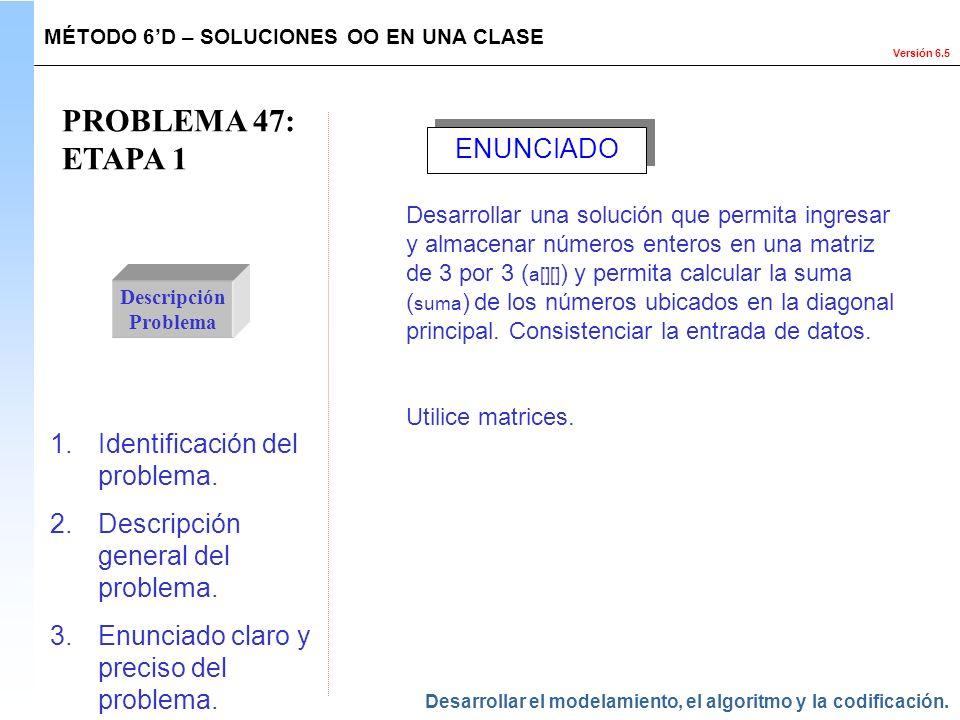 PROBLEMA 47: ETAPA 1 ENUNCIADO Identificación del problema.